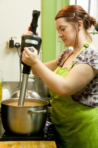 Cheryl blending one of our soups