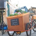 The UoG cargo bike loaded to the gunnels with veg