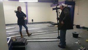 Elaine being filmed